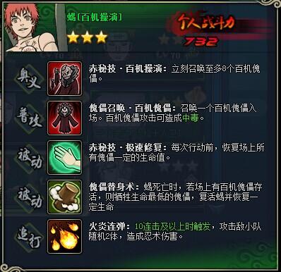 火影忍者ol蝎资料 蝎[百机操演]图鉴属性搭配攻略