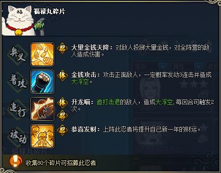 【图鉴】火影忍者ol福禄丸图鉴属性资料