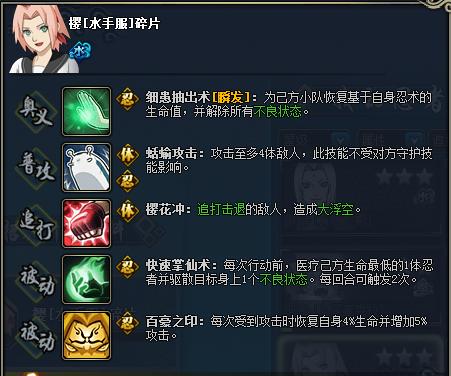 【图鉴】火影忍者ol樱[水手服]图鉴属性资料