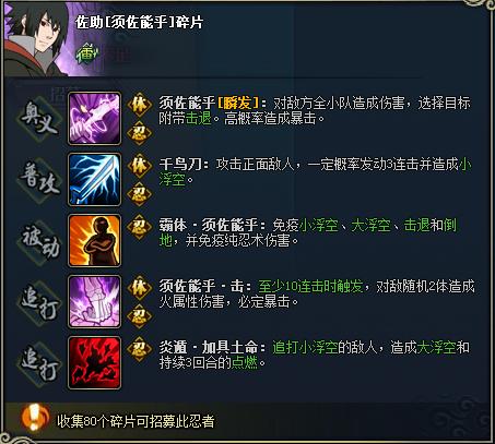 【图鉴】火影忍者ol佐助[须佐能乎]图鉴属性资料