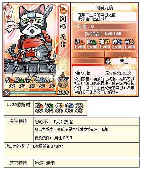 【喵将】3月9日合战奖励喵冈部元信忠心不二