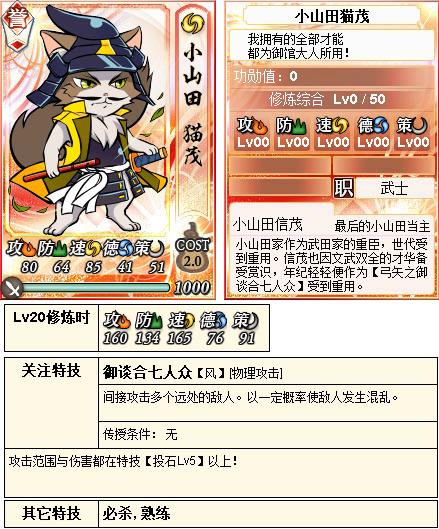 【喵将】本次合战奖励小山田猫茂伤害测试